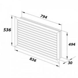 Větrací mřížka z vysoce kvalitního extrudovaného hliníku - 800x500 mm, bílá
