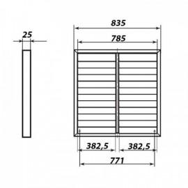 Kovová větrací mřížka se samotížnou žaluzií 835x835 mm, šedá