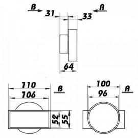 Redukce z Ø100mm na potrubí čtyřhranné 110X55mm