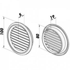 Větrací mřížka kruhová s přírubou Ø 80mm plastová 2ks