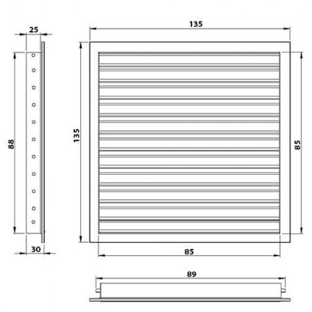 Větrací mřížka kovová 500 x 400 mm MVMP500x400s bílá