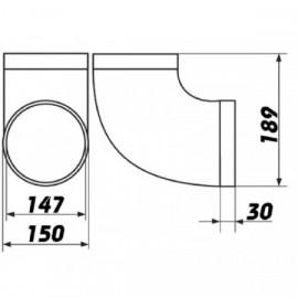 Koleno PVC 90° pro kruhové potrubí Ø 150 mm