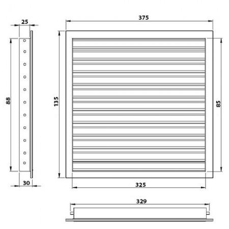 Větrací mřížka hliníková bez příruby 200 x 200 mm MVM200s Al