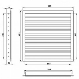 Větrací mřížka z vysoce kvalitního extrudovaného hliníku - 600x350 mm, šedá