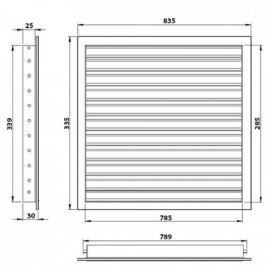 Větrací mřížka z vysoce kvalitního extrudovaného hliníku - 800x300 mm, šedá