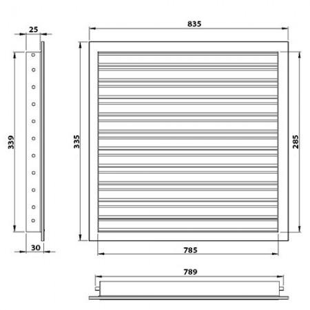 Větrací mřížka s regulací 250x250mm/MV250Rs