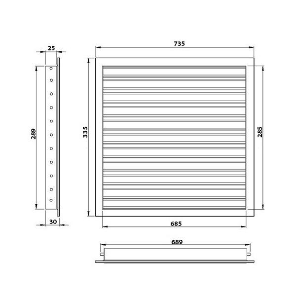 Plastová větrací mřížka 400x500 mm NUN
