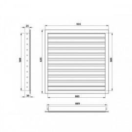 Větrací mřížka z vysoce kvalitního extrudovaného hliníku - 900x600 mm, bílá