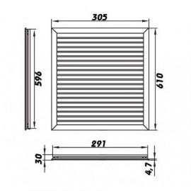 Plastová větrací mřížka 300x600 mm NVN