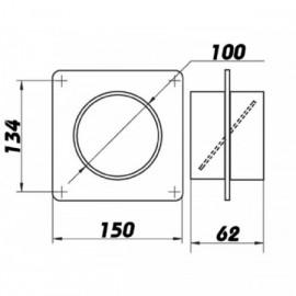 Montážní rámeček  pro Ø100mm + zpětná klapka