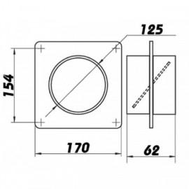 Montážní rámeček  pro Ø125mm + zpětná klapka
