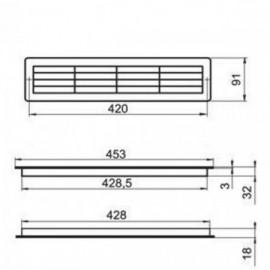 Větrací mřížka do dveří 453x91mm MV430/2-hnědá, set