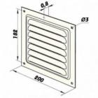 Větrací mřížka kovová  bez příruby 200 x 200 mm MVM200s bílá