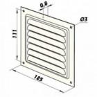 Větrací mřížka kovová  bez příruby 125 x 125 mm MVM125s pozink