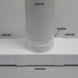 Rozbočka T - spojka PVC - 110 x 55 mm + přechod na Ø100mm