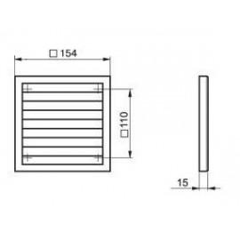 Větrací mřížka plastová 154 x 154 mm bez příruby MV100s