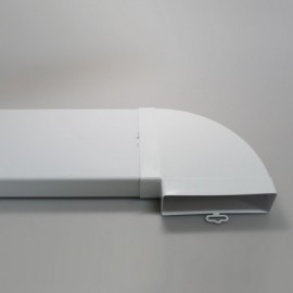 Koleno PVC 90° pro čtyřhranné potrubí horizontální 204 x 60 mm