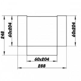 Rozbočka T - spojka PVC čtyřhranného potrubí 204 x 60 mm