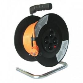 Solight prodlužovací přívod na bubnu, 4 zásuvky, oranžový, 50m