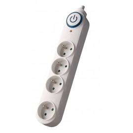 Solight přepěťová ochrana, 150J, 4 zásuvky, 3m, bílá