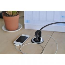 Solight USB vestavná zásuvka s víčkem 1 zásuvka