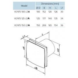 Ventilátor Vents 150 LDATHL - časovač, ložiska, hygrostat
