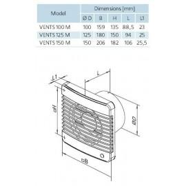 Koupelnový ventilátor Vents 125 MTL - TURBO - ložisky, časovač