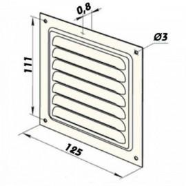 Větrací mřížka hliníková bez příruby 125 x 125 mm MVM125s Al