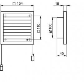 Větrací mřížka s regulací a přírubou154x154mm MV100VRs