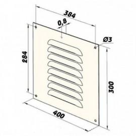 Větrací mřížka kovová 400 x 300 mm MVMPO400x300s bílá