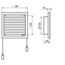 Větrací mřížka s regulací a přírubou 187x187mm MV120VRs