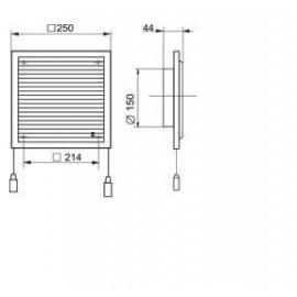 Větrací mřížka s regulací a přírubou 250x250mm MV250/150VRs