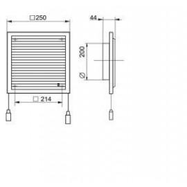 Větrací mřížka s regulací a přírubou 250x250mm MV250/200VRs