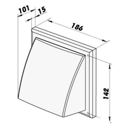 Větrací mřížka nerezová s klapkou 180x180-150 mm USUA-150