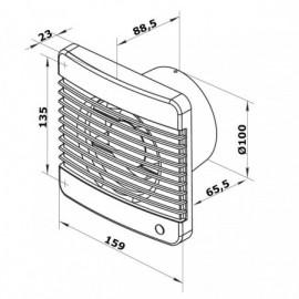 Ventilátor Dalap 100 Grace ZW TURBO - časovač, hygrostat