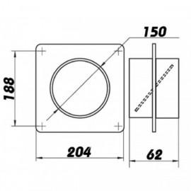 Montážní rámeček  pro Ø150mm + zpětná klapka
