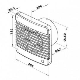 Ventilátor Dalap 150 Grace - vyšší tlak s tahovým spínačem, časovač, hydrostat