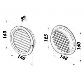 Větrací mřížka na fasádu kruhová s přírubou Ø 125 mm plastová