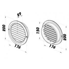 Větrací mřížka na fasádu kruhová s přírubou Ø 150 mm plastová