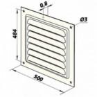Větrací mřížka kovová 500 x 500 mm MVMP500s bílá