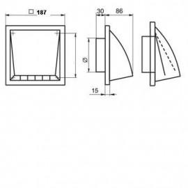 Ventilační mřížka 187x187mm/125mm MV 122 VK