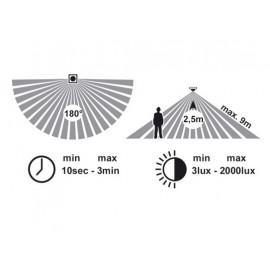 Svítidlo s čidlem pohybu NEPTUN 2, 1xE27, 27x19cm, IP44
