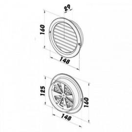 PVC mřížka s přírubou a mechanicky ovládanou žaluzií - Ø 125 mm, bílá