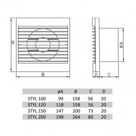 Ventilátor Dospel Styl 100 S-P - rozměry