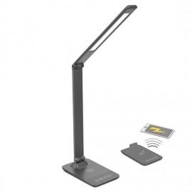 Stmívatelná LED lampa s bezdrátovým nabíjením, 10W, 3000K-6000K, šedá