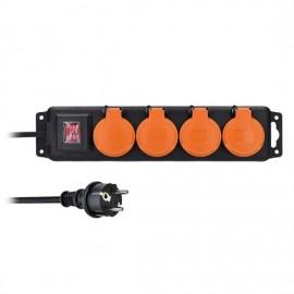 Solight prodlužovací přívod PP333, IP44, 4 zásuvky, černý, vypínač, 5m