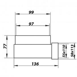 Redukce 90° z Ø100mm na potrubí čtyřhranné 110x55mm