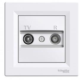 Zásuvka Asfora TV+R průběžná, bílá