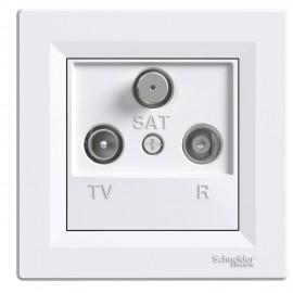 Zásuvka Asfora TV+R+SAT průběžná, bílá