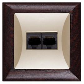 Datová zásuvka pro internet Opus 2x RJ45, wenge-písková
